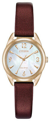 Citizen Eco-Drive Women's Rose Gold Tone Merlot Leather Band EM0683-04D