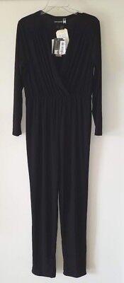 Antthony Black Jumpsuit Sz Med Low-Cut V-Neckline Elastic Waist Cat Suit One - Cat Suit Black
