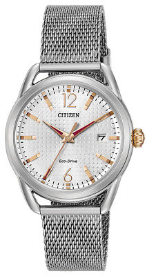 Citizen Eco-Drive Women's Rose Gold Accent Silver-Tone 34mm Watch FE6081-51A
