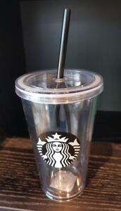 Brand NEW Clear Starbucks Tumbler Acrylic Cold Beverage 16oz 473ml Travel Mug