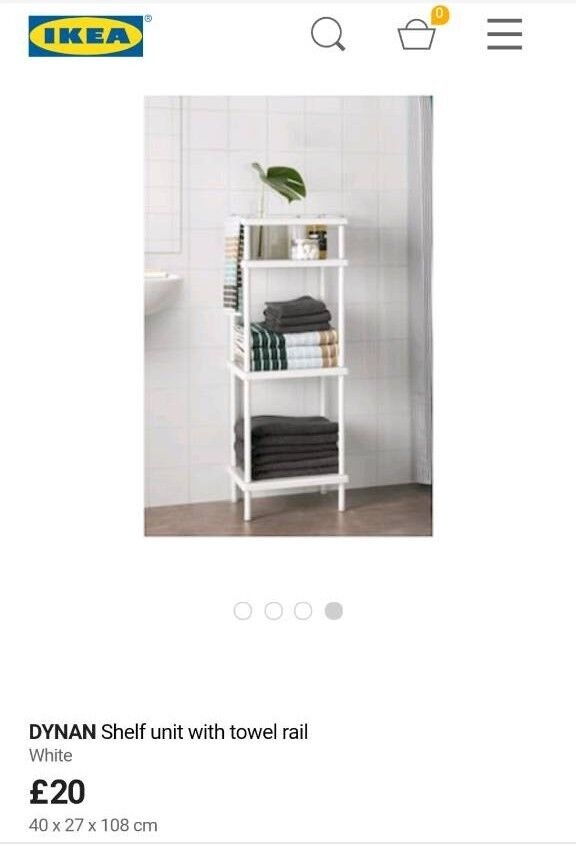 White Ikea Dynan Shelf Unit With Towel Rail Bathroom Storage