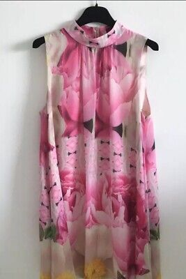 TED BAKER SIZE 2 UK 10 Beautiful Pink + Yellow Floral Patterned Halterneck Dress