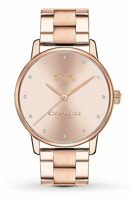 Coach Grand Rose Gold-tone Stainless Steel Women's Watch 14502929 $195 Gold Tone Rose Wrist Watch