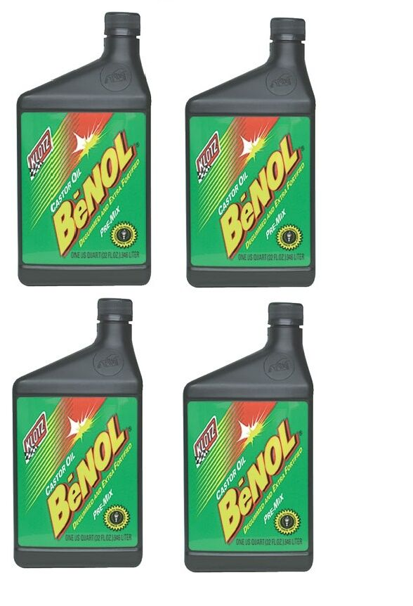 4 Klotz Benol Racing Castor 2-Stroke Oil 32 oz. Bottles MX ATV Motocross