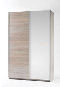 ARIC Dielenschrank Garderobenschrank Schrank f. Diele Dekor Eiche Sonoma Weiß