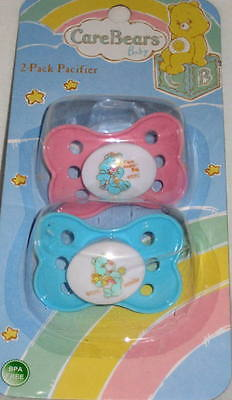 NEW (Set Of 2) Care Bears Baby BPA Free Pacifiers Pink/Aqua