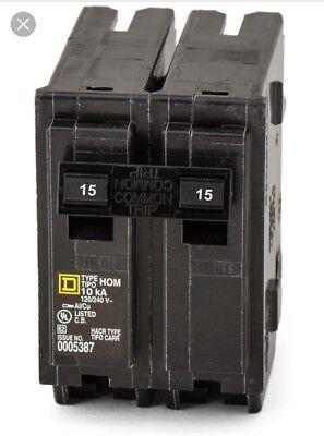New Circuit Breaker Square D Homeline Hom215 2 Pole 15 Amp 120240v Plug In