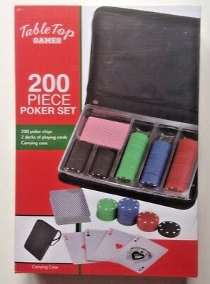 200 Poker Chip Set With 2 Decks Playing Cards Carrying Case Table Top Games NEW
