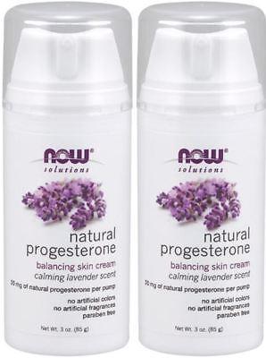 2 Oz Natural Progesterone Cream (Natural Progesterone Liposomal Skin Cream w/ LAVENDER - 3oz x 2 Pack by NOW )