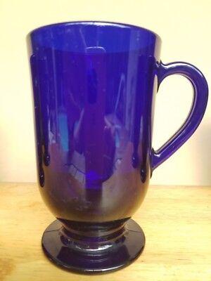 4 Libbey Rock (Libbey Cobalt Blue Rock Sharpe Flare 4 IRISH COFFEE Glass MUGS Footed Handled)