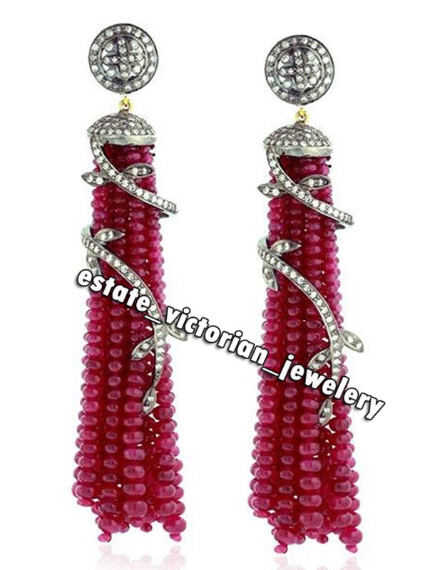 Vintage 5.72cts Pave Rose Cut Diamond Ruby Studded Silver Tassel Earring Jewelry