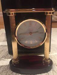 Chass Solid Brass Wood Base Quartz Desk Clock New Inbox Model 72548