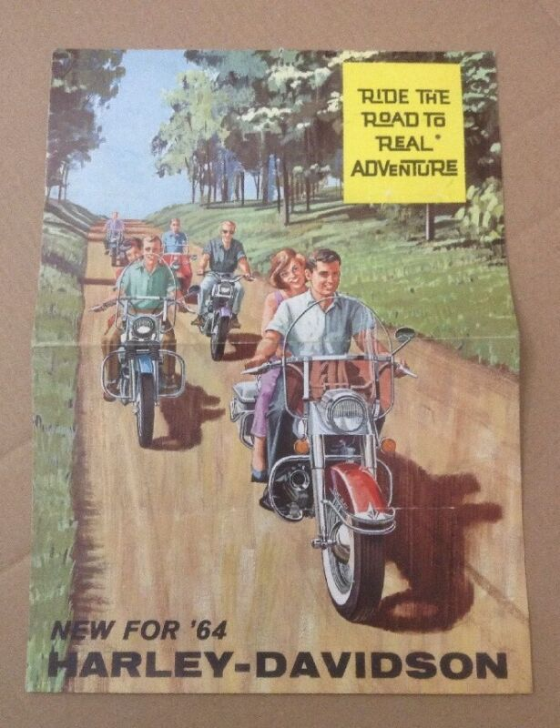 1964 Harley Davidson Ride The Road Brochure Colorful Foldout