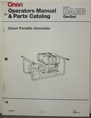 Onan Daeb Series Genset Diesel Portable Generator Operators Manual Parts Cat.