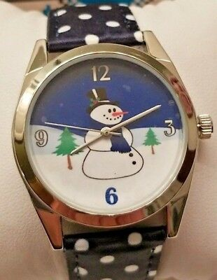 "Snowman Watch Women's Blue White Silver 1"" Bessel Winter Girl Teen Gifts Boxed"