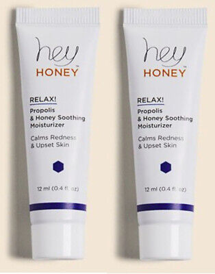 2 x HEY HONEY Relax! Propolis & Honey Soothing Moisturizer 12ml/.4oz Mini Sealed
