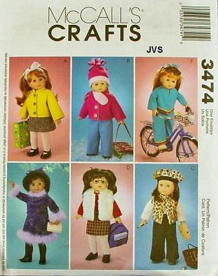 """McCall's 3474 Sewing Pattern 18"""" Assorted Doll Clothes Fits American Girl Dolls"""