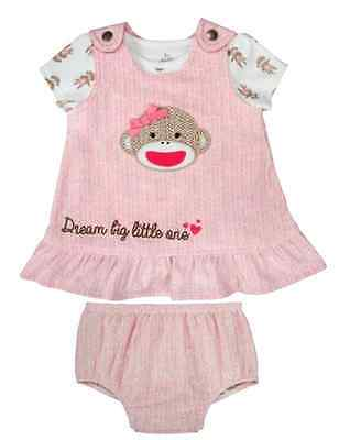 Sock Monkey Mädchen (Baby Girl Sock Monkey Jumper Bodysuit Bloomers NWT Baby Starters 9 mos.)