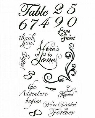 Wedding Sentiments & Table Numbers Clear Acrylic Stamp Set by Sizzix 661890 NEW!
