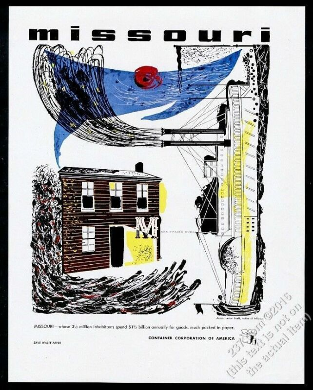 1946 Missouri theme Lester Beall art CCA vintage print ad