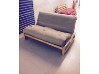 Futon Company Linear Sofa Bed Birch Wood Base+Thick Sofabed Mattress Cost £649 VGC (Can Deliver)