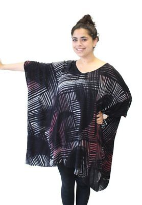 Modesce Hand Painted Tunic Poncho Caftan OVERSIZED Plus Size Crystal Blk Crimson