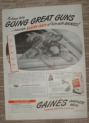 6 Vintage DogFood Ads 1947 -54 Ideal Pard Friskies Gaines GeneralFood Carnation