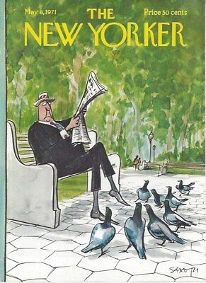COVER ONLY ~New Yorker magazine ~ May 8 1971 ~ SAXON ~ Man Park bench (Parks Benches Magazine)