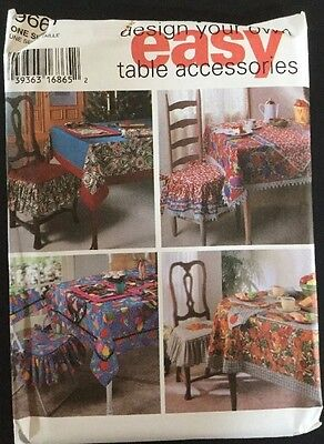 Uncut 9661 Simplicity Sewing Pattern Design Your Own Table Accessories