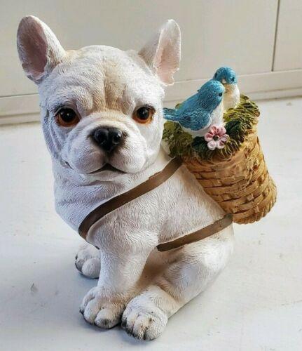 French Bulldog  Dog  Sitting With Baskett And Blue Jays