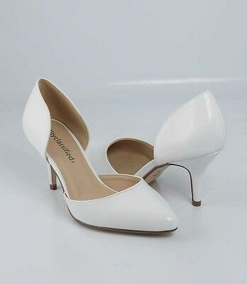 White  Patent  Awesome D' Orsay Pointy Pointed Toe Stiletto Mid Heel Pumps