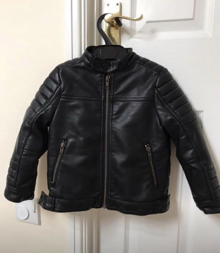 Next Signature Leather Jacket Age 3 with labels