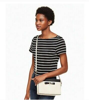 Kate Spade Angelica Hancock Park crossbody, pebble with black bow, chain strap.