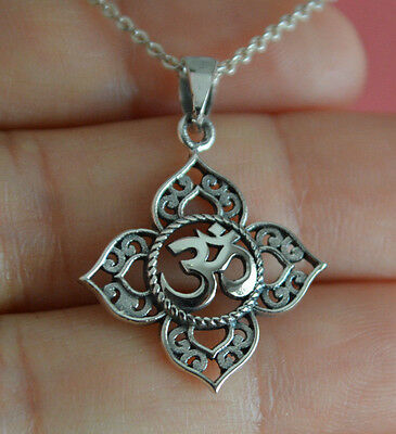 925 Sterling Silver Lotus Flower Ohm Charm Necklace   Yoga Om Namaste Necklace
