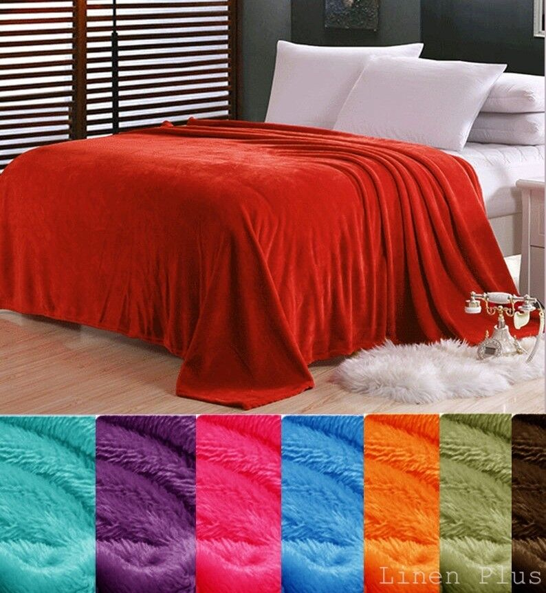 Color Black Brown Pink Micro plush Flannel Fleece Throw King
