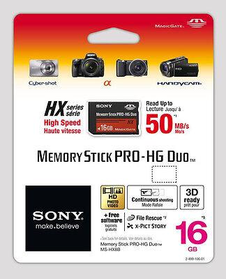 Sony 16GB MS Memory Stick Pro Duo Pro-HG HX Series 50MB/s MS-HX16G RETAIL 16 G B