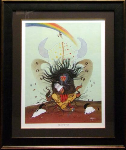 "Rance Hood ""the Flower Of Life ""offset Lithograph Hand Signed With Custom Frame"