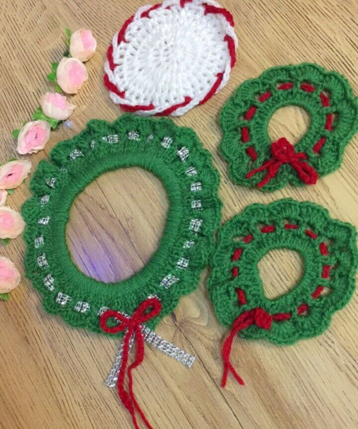 Christmas Crochet Wreath Ornament And Coasters In