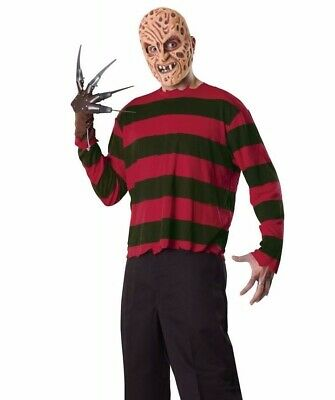 Freddy Krueger Costume Shirt & Mask Nightmare On Elm Street - STD & Plus Size XL - Nightmare On Elm Street Costume
