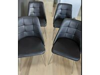 4 Brown Faux Leather & Chrome Chairs FREE DELIVERY 5059