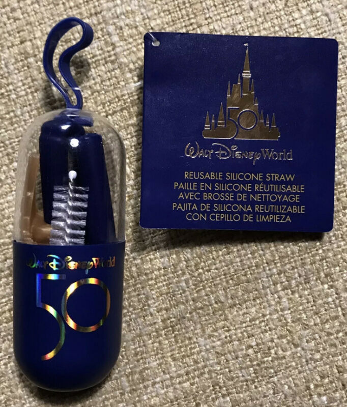 Walt Disney World Parks 50th Anniversary Reusable Silicone Straw  With Brush NWT