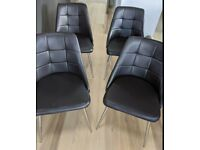 4 Brown Faux Leather & Chrome Chairs FREE DELIVERY 4059