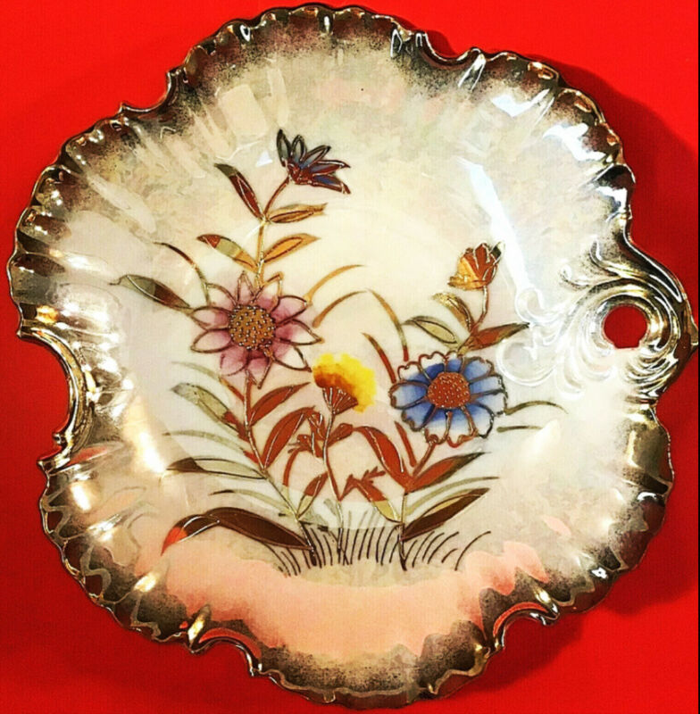 VINTAGE CANDY DISH HAND DECORATED MORIAGE OPALESCENT RAISED GOLD FLORAL HANDLED