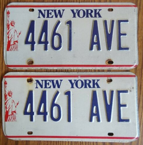 NEW YORK Statue of Liberty 1986-2000 License Plate PAIR - #4461-AVE