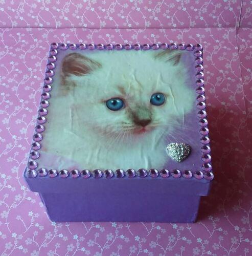Handmade Purple Kitty Kitten Paper Mache Trinket Jewelry Gift Box w/ Rhinestones
