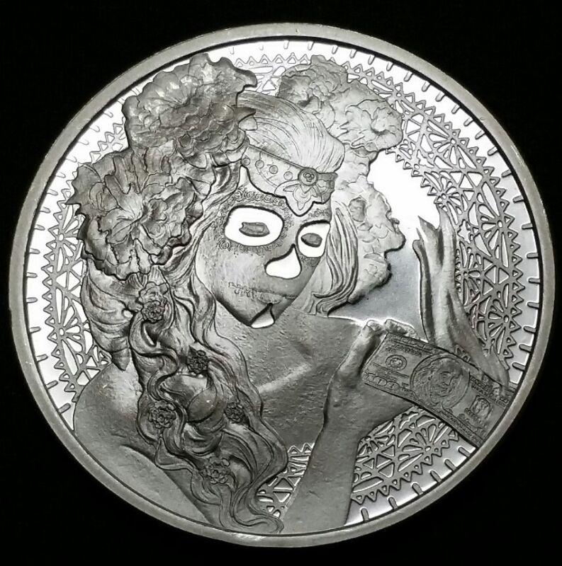 1 oz .999 Fine Pure Silver Art Round Coin Silver Shield Mini Mintage Bullion