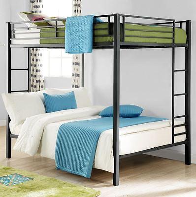 Bunk Beds Full Over Full Size Kids Girls Boys Adults Bedroom Furniture Bed Black