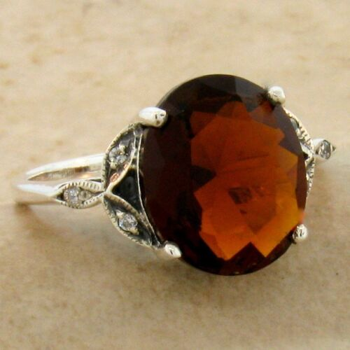 VICTORIAN 925 STERLING SILVER 4 CT SIM GARNET ANTIQUE STYLE RING,          #1133