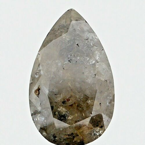Big Real Natural Diamond 3.15TCW Greenish Gray Sparkling Pear Rose Cut for Gift