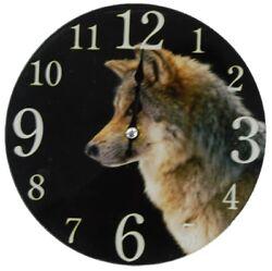 17cm Round Wolf Glass Wall Clock Small Wall Clock